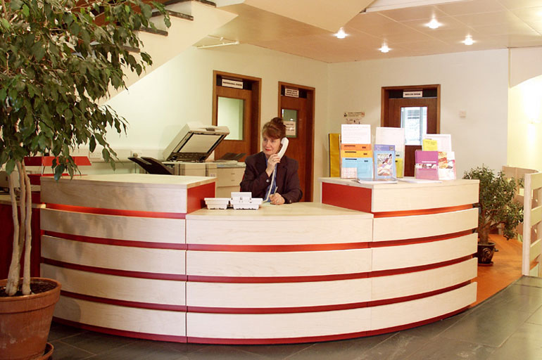 College reception desk